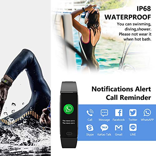 Mgaolo Fitness Tracker,2020 Version IP68 Waterproof Activity Tracker with Blood Pressure Heart Rate Sleep Monitor,10 Sport Health Fit Smart Watch with Pedometer for Fitbit Bit Men Women Kids (Black) 4