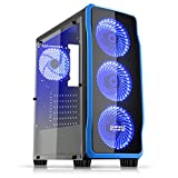 EMPIRE GAMING - Boitier PC Gamer DarkRaw Noir - 4 Ventilateurs LED Bleu 120 mm - Paroi 100% Transparente - Compatible ATX/mATX/mITX
