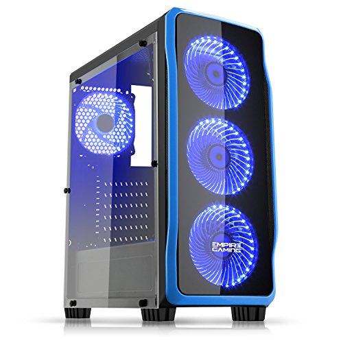 Empire Gaming - Box PC Gaming DarkRaw Nero LED Blu: USB 3.0 e USB 2.0, 4 Ventole LED 120 mm + controllore ventole, parete laterale 100% trasparente - ATX / mATX / mITX