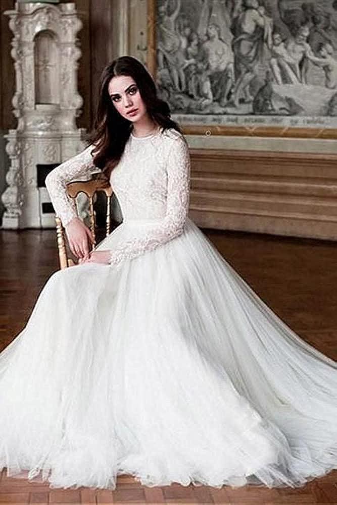 Tsbridal Beach Wedding Dress Long Sleeves Round Neck Lace Wedding Gowns At Amazon Women S Clothing Store
