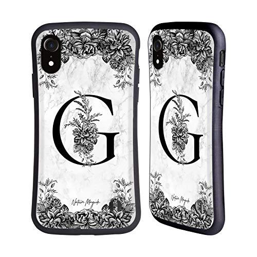 Head Case Designs Oficial Nature Magick Letra G B&W Mármol Monograma 1 Carcasa híbrida Compatible con Apple iPhone XR