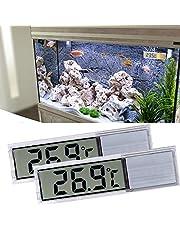 ALLOMN Termómetro de Tanque de Peces, 2 PCS de Termómetro de Acuario Digital de Alta Sensibilidad, Dos Adhesivos Adhesivos, Precisión de hasta 0,1 Grados (Plata)