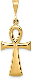 14k Yellow Gold Egyptian Ankh Cross Religious Pendant Charm Necklace Fine Jewelry Gifts For Women For Her