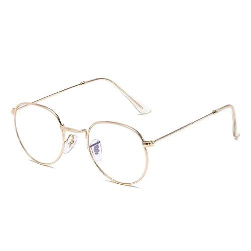 58d020f3bb Simvey Oval Vintage Designer Round Circle Eye Glasses Metal Frame Clear Lens  51mm