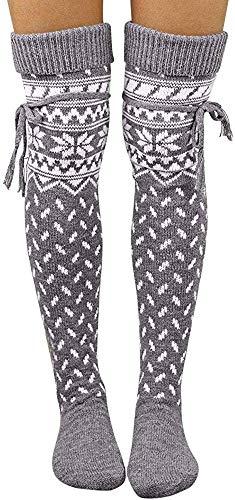 Berrykey Casual Christmas Socks Women Thigh High Long Stockings Xmas Knit Over Knee Socks Gray