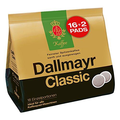 Dallmayr Classic saszetki, do wszystkich ekspresów do kawy, kawa palona, delikatna, 16 + 2 saszetki, każda 6,9 g