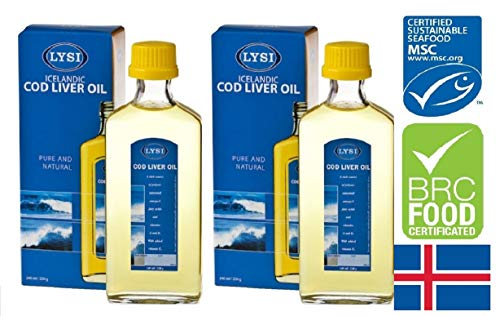 Huile de foie de morue de poisson Lysi avec vitamines A, D et E, arôme naturel 240 ml de supplément liquide, extra pure, de haute qualité, fabriquée en Islande x 2 bouteilles