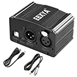EBXYA 48V Phantom Power Supply with XLR Female to 3.5mm Cable (6 Feet), 1 Channel Phantom power for Condenser Microphone Music Recording Equipment