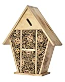 Homestead Essentials Large Native Leafcutter Bee and Mason Bee House   Bamboo Hollow Tubes and Flame-Treated Wood   Wall or Tree Mount