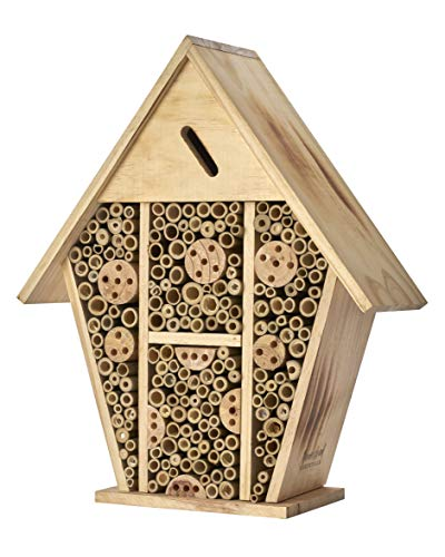 Homestead Essentials Large Native Leafcutter Bee and Mason Bee House | Bamboo Hollow Tubes and...
