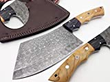 Nooraki-58 Full Tang Butcher Knife Handmade Forged Kitchen Chef Knife 256 Damascus Steel Layers Butcher Cleaver with Leather Knife Sheath