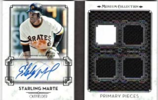 2014 Topps Museum Collection Primary Pieces Quad Relic Autographs #PPARSMA Starling Marte Auto Jersey Book Card #01/10 - Pirates