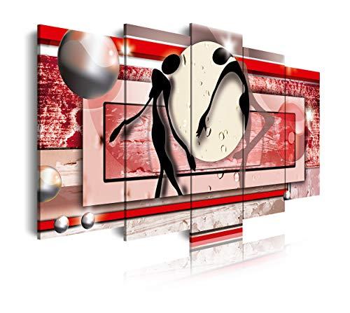 DekoArte 84 - Cuadros Modernos Impresión de Imagen Artística Digitalizada | Lienzo Decorativo Para Tu Salón o Dormitorio | Estilo Abstracto con Colores Rojos | 5 Piezas 150 x 80 cm