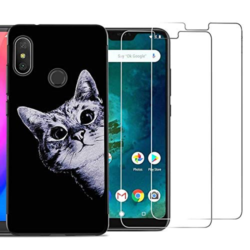 Xiaomi Redmi Note 6 Pro Case with 2 Pack Glass Screen Protector Phone Case for Men Women Girls Clear...