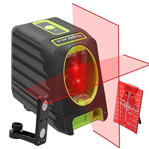 Huepar 2ライン レーザー墨出し器 赤色 クロスラインレーザー 高精度 ミニ型 持ち運び便利 収納バック付き L型マウント付き M-BOX-1R