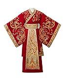 HangErFeng Hanfu Red Men's Dress Dragon Pattern Embroidery Suit Uniform Code