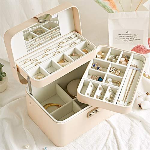 Multifuncional Caja de joyería, cajas de joyas de cuero PU para mujeres, organizador de joyas sencillas y elegantes, con hebilla en forma de corazón, utilizada para el almacenamiento de joyería, regal