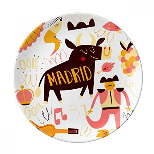 DIYthinker Madrid Corrida Musique Fiesta Décoratif en Porcelaine Assiette à Dessert 8 Pouces Dîner Accueil Cadeau 21cm Diamètre Multicolor