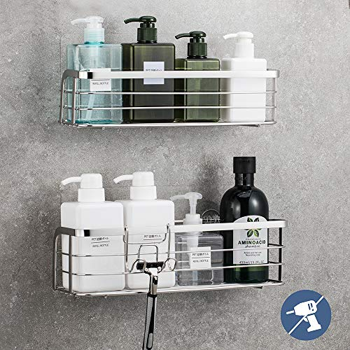 LUXEAR 2 Pack Shower Caddy with Hook Rustproof Reusable Adhesive Wall Shower Shelf Rack Basket Storage Organizer for Bathroom Kitchen  Stainless Steel  No Glue