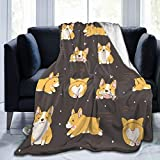 Dujiea Kawaii Corgi Cute Dog Fuzzy Flannel Blanket Throw 40'X50', Super Soft Lightweight Blanket Throw for Couch Chair Sofa, Cozy Bed Blanket for Kids Adults