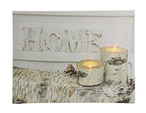 zeitzone LED Bild Winter Home Kerzen Birke Weiß Mit Beleuchtung 30x40cm