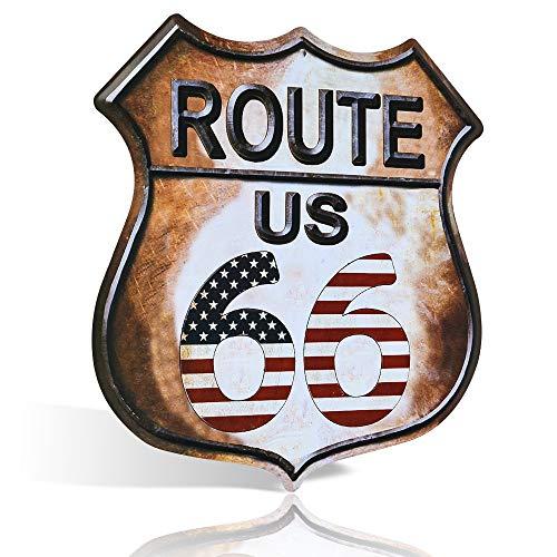 Letreros vintage de estaño – US Route 66 – Señales de carretera – Señales de metal vintage – Señales de carretera perfectos, señales de garaje