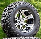 12' RUCKUS Machined/Black Golf Cart Wheels and 23x10.5-12 DOT All Terrain Golf Cart Tires - Set of 4