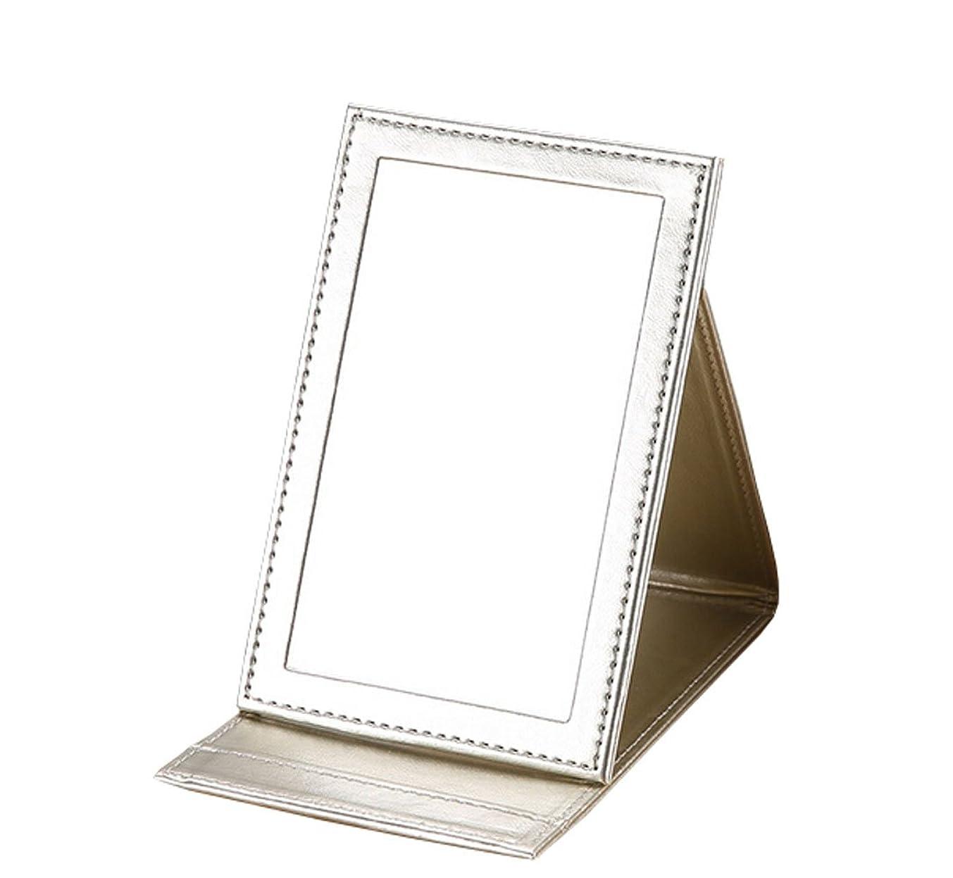 水分自分自身物理的に雲の花 革の化粧鏡に手のデスクトップに化粧鏡を持って折りたたみ式にして折り畳む鏡 (ゴールド)