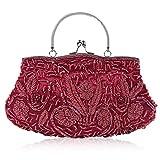 Sac à main Cangao à sequins pour fête de mariage, bal de fin d'année, broderie de perles vintage -  Rouge -  taille...
