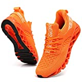 TSIODFO Sneakers for Men Slip on Fashion Casual Sport Running Tennis Athletic Walking Shoes Youth Boys Gym Runner Trail Shoes Non-Slip Jogging Shoe Orange Size 7