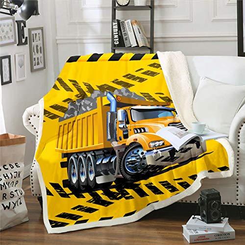 Homewish Kinder Bagger Plüsch Bettdecke 150x200, LKW Traktor Sherpa Decke, Baufahrzeug Fuzzy Wurfdecke Für Jungen Mädchen, Karikatur Grunge Stil Vlies Decke, Gelb