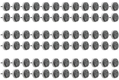 com-four® 72x Möbelgleiter aus Filz - Runde Stuhlgleiter mit Nagel - Filzgleiter für Möbel, Stuhl- & Tischbeine