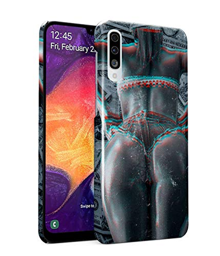 MerchCandy Funda Protectora de Plástico Duro para Samsung Galaxy A50 Bad Girl Naked Naughty Sexy Model Huge Ass Dollars Cash USA Gangsta Girl Swag Trippy Holographic Psy Chill Funda Delgada y Ligera