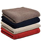 Yuhan Pretty Kitchen Towels Dish Cloths Set 100% Cotton Waffle Weave Super Absorbent Quick Drying Soft Kitchen Dish Towels 13x28 Inches 4 Pack(Grey+Red+Brown+Beige)