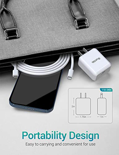 iPhone Fast Charger MFi Certified - Quntis 20W USB-C Fast Charger Power Adapter with 6FT USB C to Lightning Cable for iPhone 12 Mini Pro Max 11 Pro Max XS Max XR X iPad Pro AirPods Pro and More