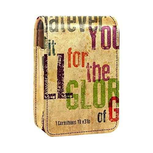 OLEEKA Bolsa organizadora de lápiz Labial,con Espejo,Verso de la Biblia Cristiana