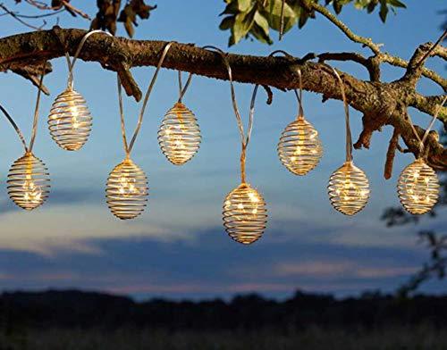Garden Mile LED Solar Warm White String of 10 Spiral Hanging Lights, Garden Outdoor Lighting