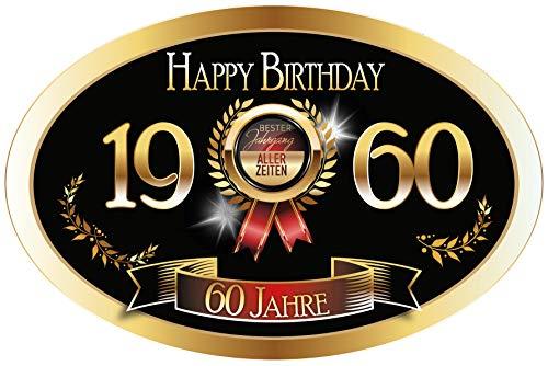 """""""Bester Jahrgang - 60 Jahre - Happy Birthday"""" Aufkleber Sektflasche Weinflasche selbstklebend"""