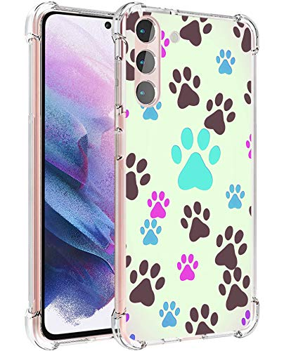 Ecute Military Clear Grade Protection [Air Armor Designed] Case Cover Compatible with Samsung Galaxy S21 6.2 inch 20210 Released - Dog Paw Prints Pet Lovers