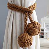 Un par de alzapaños de cortina hechos a mano, con borla y cordón de algodón, accesorios para cortina (marrón)