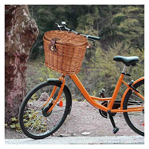 Cestino della bicicletta Cestino anteriore bicicletta cestino in vimini mtb cestino bici da strada con cintura in pelle fatta a mano naturale rattan bici cestino cestino cestino contenitore Pratico e