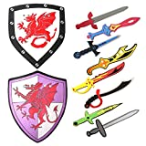 Assorted Foam Toy Swords Foam Sword and Shield Playset - Medieval Assorted Ninja Warrior Weapons Pretend Play Sword Boys Toy Set for Kids Gift