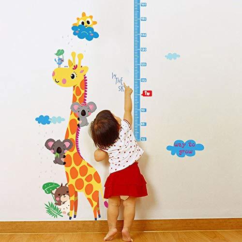 ZWXDMY Hauteur Mesure Stickers Muraux,Girafe Koala Cloud Sun Flower Animaux Cartoon Stickers Chambre Bébé Imperméable Porche De Croissance De l'enfant Art Poster Mural Amovible Règle