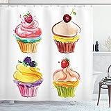 N\A Cupcake Duschvorhang, Pastellfarben Aquarell Backwaren mit leckeren Pinsel Kunst mit frischem Obstgeschmack, Stoff Stoff Badezimmer Dekor Set mit Haken Mehrfarbig