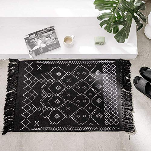Boho Bathroom Rug Black and White, Bath Mat Cotton Woven with Tassles, Modern Geometric Patterned Bohemian Floor Carpet for Hallway Entryway Door, Washable Accent Bedroom Living Room Rug 2'x3'