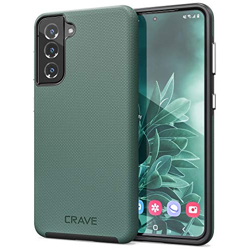 Crave Dual Guard for Galaxy S21 Case, Shockproof Protection Dual Layer Case for Samsung Galaxy S21, S21 5G (6.2 inch) - Forest Green