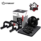 3-in-1 Ab Abdominal Exercise Roller Set with Push-Up Bar, Skipping Rope and Knee Pad - Home Workout Equipment for Abdominal Core Strength Training Workout - Ab Trainer Fitness Equipment for Home Gym