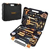 Home Repair Tool Set,General Household Orange Hand Tool Kit for Home Maintenance with Plastic Tool Box Storage (56 PCS)