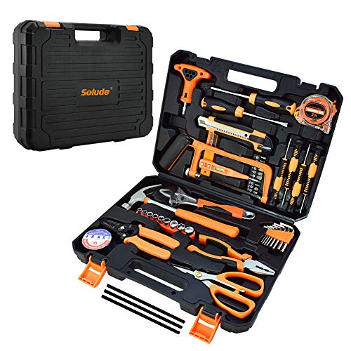 56 Piece Home Tool Set,General Household Orange Hand Tools with Plastic Storage Case