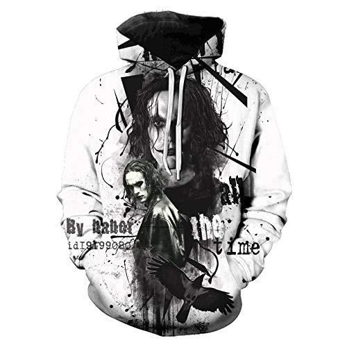 The Crow 2021 Eric Draven Horror Movie Sudaderas con capucha impresas en 3D Hombres Mujeres Halloween Funny Swearshirt O-Neck Pullover de gran tamaño XXS